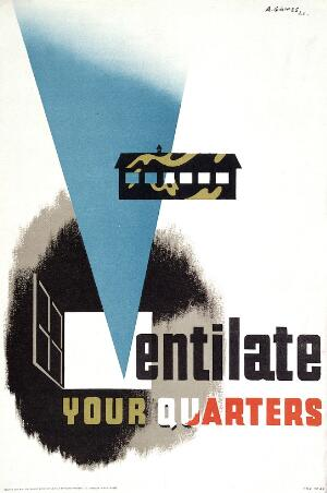 view Ventilation of soldiers' quarters. Colour lithograph after A. Games, 1941.