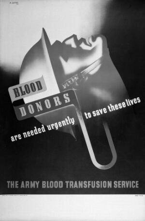 view The head of a wounded soldier, tense with pain, and blood being transfused; representing the need for blood donors. Colour lithograph after A. Games, 1942.