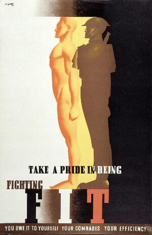view A healthy soldier in profile, naked and in uniform. Colour lithograph after A. Games, 1942.