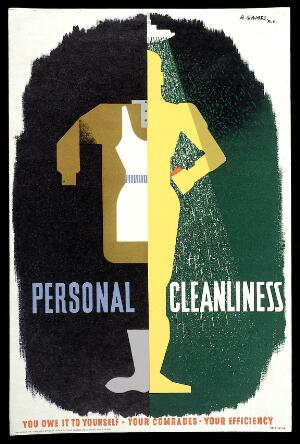 view Clean, freshly ironed clothes hanging up, and a clean body under a shower. Colour lithograph after A. Games, 1941.