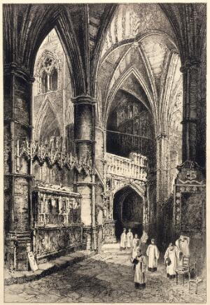 view Westminster Abbey: interior with choristers. Process print after etching by H. Railton.