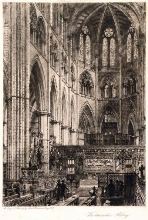 view Westminster Abbey: interior of east end. Etching by A. Haig, 1909.