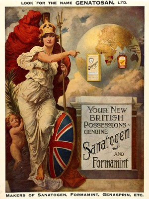 view Britannia pointing to Sanatogen, Formamint, and German colonies in Africa and the East Indies as new British possessions. Colour process print after E.F. Skinner.
