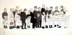 view Seventeen professors at Jefferson Medical College, Philadelphia. Colour process print after C.E. Miksch, 1923.