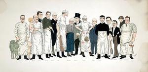 view Fifteen professors at Jefferson Medical College, Philadelphia. Colour process print after C. Miksch, 1923.