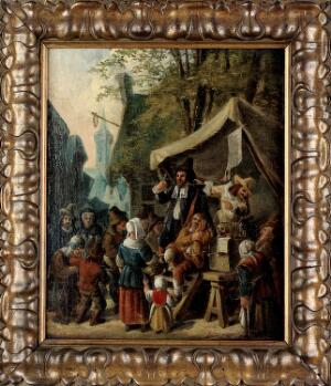 view Quacks on stage, with many figures around. Oil painting attributed to a Netherlandish painter.