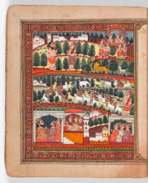 view The mahatmya of the second adhyaya. The bottom third of the painting depicts the frame story of Devasusara of Purana. The top two-thirds illustrate the embedded story of Gadia the goatherd: one of his goats chases away a lion, the ascetic Bala explains the meaning of the events, and Gadia and his animals ascend to Vishnu's celestial dwelling Vaikuntha in their divine bodies