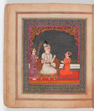 view The story of the Bhagvadgita. Seated on the throne and served by an attendant waving a whisk made of peacock feathers, the blind king Dhrtarastra listens as the visionary narrator Sanjaya relates the events of the battle between the Kaurava and the Pandava clans