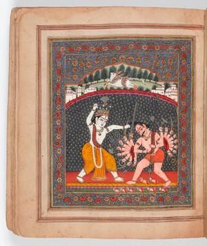 view The sixth avatara if Visnu. The warrior Brahman Parasurama slays the evil king Anjuna with an axe.