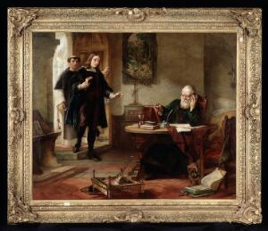 view Milton visiting Galileo when a prisoner of the Inquisition. Oil painting by Solomon Alexander Hart, 1847.