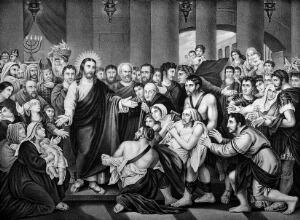 view Crowds gather as Christ heals sick people. Lithograph after Benjamin West.