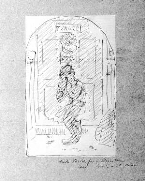 "view A doctor's front door, with a chimney sweep, in the snow. Drawing by John Leighton (""Luke Limner"")."