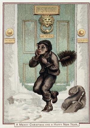 "view A doctor's front door, with a chimney sweep, in the snow. Chromolithograph by John Leighton (""Luke Limner"")."