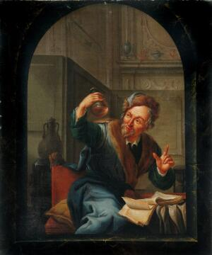 view A physician or apothecary examining a flask at a casement. Oil painting by Willem Joseph Laquy, 1780.