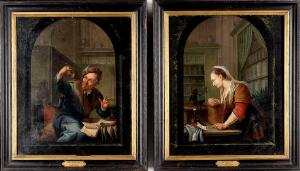 view William Laquy, Paintings of a man and a woman in pharmacy