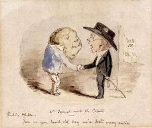 view A potato shaking hands with Edward Jenner, claiming him as a fellow vaccinator. Watercolour by John Leech.