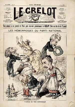 view Politicians of the Parti National with stomach disorders and haemorrhoids. Wood engraving by Pépin (E. Guillaumin), 1889.