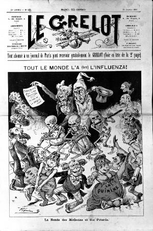 view A man with influenza, taken in hand by a doctor, surrounded by dancing politicians. Wood engraving by Pépin (E. Guillaumin), 1889.