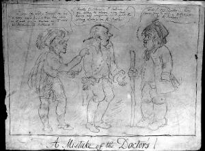view Henry Addington, Viscount Sidmouth, as a doctor admitting that he mislabelled medicine bottles; referring to misgovernment of Ireland and Scotland. Pencil drawing, ca. 180-.