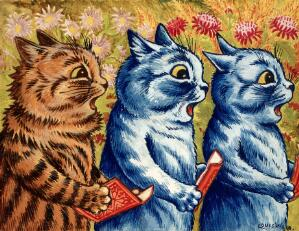 view Three cats singing. Gouache by Louis Wain, 1925/1939.