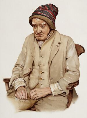 view An old man diagnosed as suffering from senile dementia. Colour lithograph, 1896, after J. Williamson, ca. 1890.