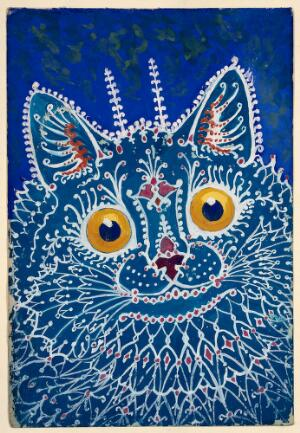 "view A cat in ""gothic"" style. Gouache by Louis Wain, 1925/1939."