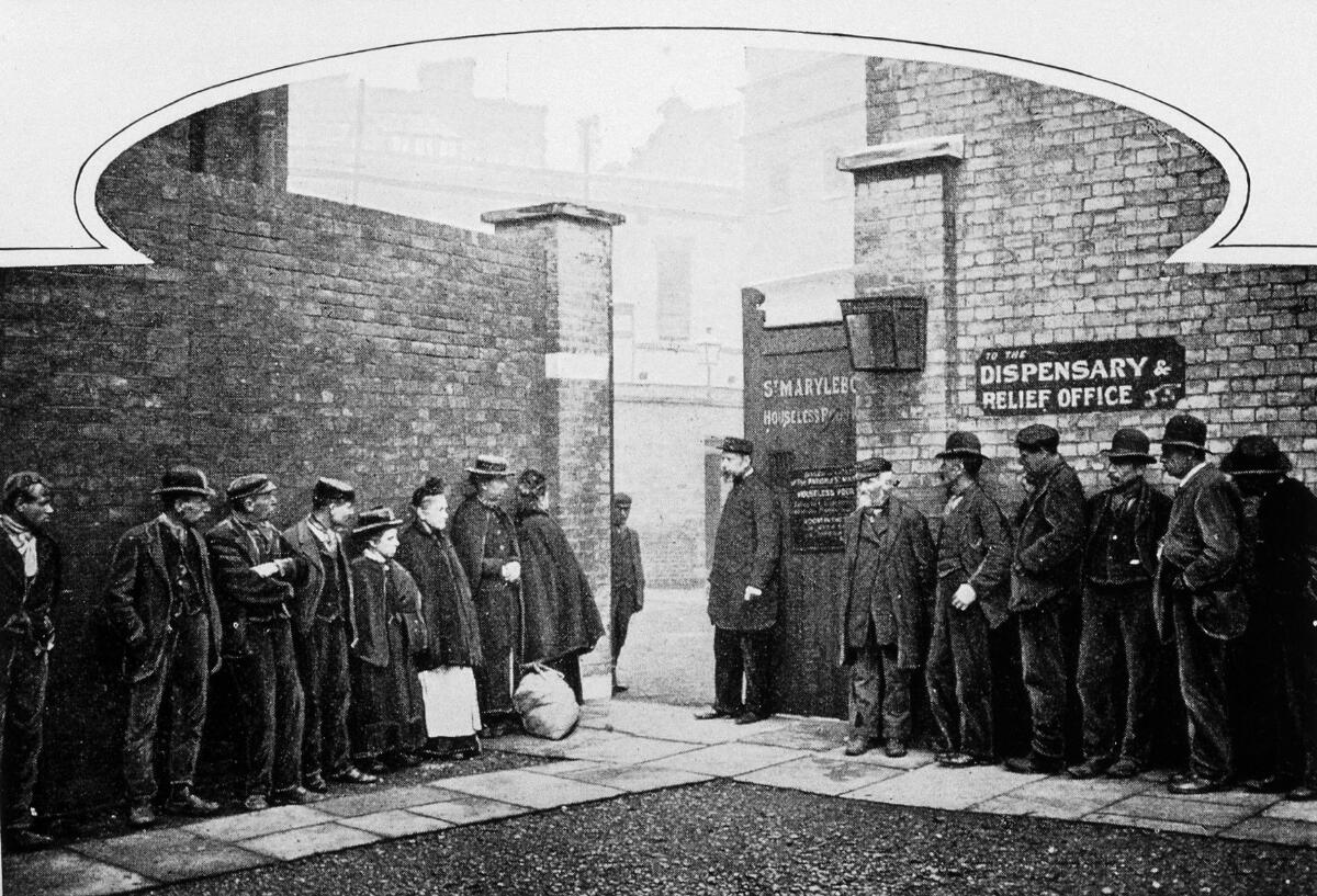 People queuing at South Marylebone workhouse circa 1900