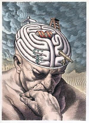 view The gyri of the thinker's brain as a maze of choices in biomedical ethics. Scraperboard drawing by Bill Sanderson, 1997.
