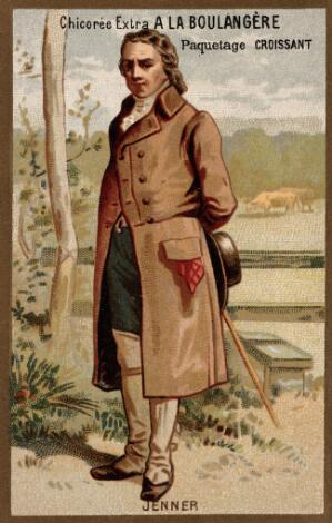 view Edward Jenner, standing, a field with cows behind. Chromolithograph.
