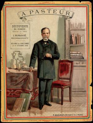 view Louis Pasteur, standing, holding eyeglasses, with chemical apparatus and books. Chromolithograph.
