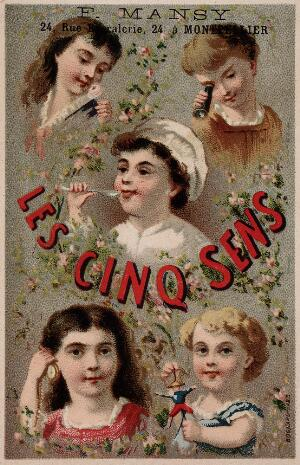 view The five senses represented by five children. Chromolithograph.