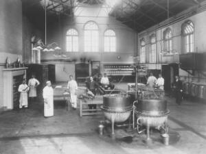 view Claybury Asylum, Woodford, Essex: a kitchen. Photograph by the London & County Photographic Co., [1893?].