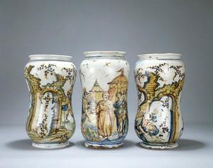 view Ceramic pharmacy jars.
