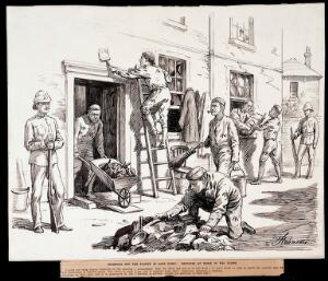 view Plague in Cape Town: convicts cleansing and disinfecting infected buildings. Drawing by H. Johnson, 1891.