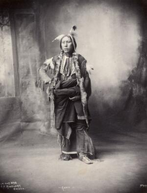 view An American of the Kiowa tribe. Platinum print by F.A. Rinehart, 1898.