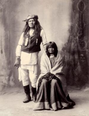 view Henry Wilson and his wife, Americans of the Mohave. Platinum print by F.A. Rinehart, 1898.