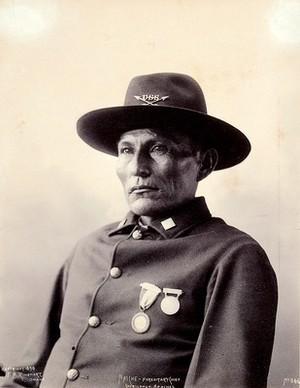 view Naiche, hereditary chief of the Chiricahua. Platinum print by F.A. Rinehart, 1898.