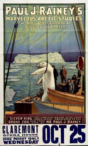 view Silver King, a polar bear, being taken by ship away from his homeland. Colour lithograph.