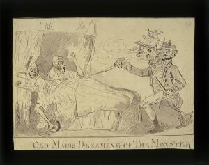 """view Two elderly women in bed, disturbed from sleep by a nightmare vision of """"The monster"""" (R. Williams), 1790. Drawing."""
