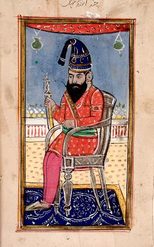 view Page 116: three portraits of kings, princes or generals. Gouache drawing.