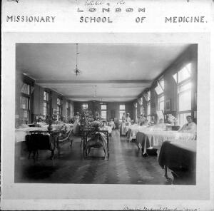 view London Missionary School of Medicine: women's medical ward or Quin ward. Photograph.