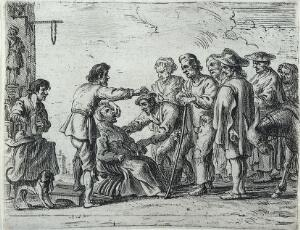 view A travelling healer demonstrating the extraction of a tooth from the mouth of a woman patient, before a crowd of onlookers. Etching attributed to Cornelis de Wael.