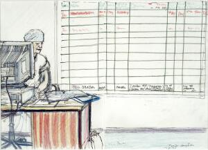 view Operating theatre reception: one of the assistants sitting at a computer, with a chart of operations behind. Drawing by Virginia Powell, 1995.