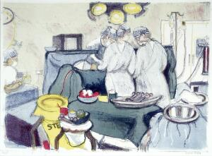 view A gynaecological operation. Colour lithograph by Virginia Powell, ca. 1995.