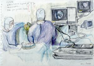 view A surgical operation to reconstruct a patient's anterior cruciate ligament. Drawing by Virginia Powell, 1996.