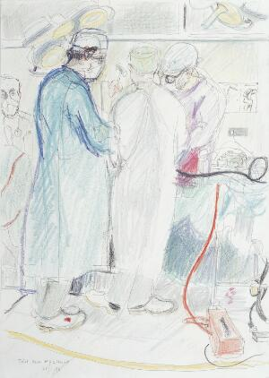 view A surgical operation: total knee replacement. Drawing by Virginia Powell, 1996.