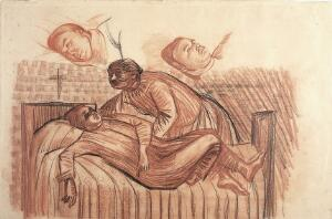 view A patient being made comfortable on a bed; with two studies of the patient's face. Drawing by Robert MacBryde.