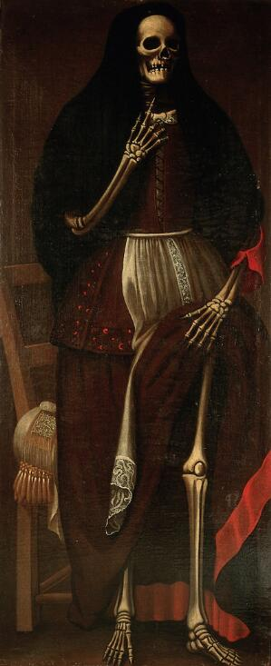 view A skeleton as a woman wearing a brown and red dress and a black headdress. Oil painting, ca. 1680.