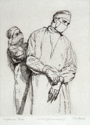 view A nurse and a surgeon, both wearing gown and mask. Etching by H.A. Freeth.