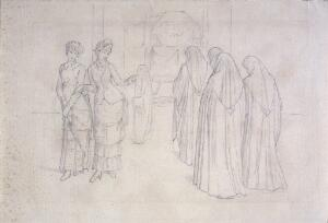 view Two fashionable young women remarking a traditional funeral procession which passes them in the street. Drawing attributed to Eduard von Steinle.